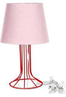 Abajur Torre Dome Rosa Com Aramado Vermelho