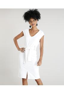 b6a2d42c0 Vestido Feminino Curto Com Decote V E Pespontos Sem Manga Off White