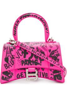 Balenciaga Bolsa Hourglass Xs Graffiti - Rosa