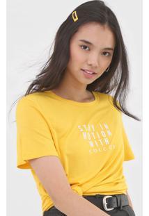 Camiseta Colcci Lettering Amarela