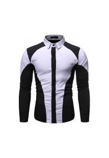 Camisa Masculina Manga Longa - Branca E Preta