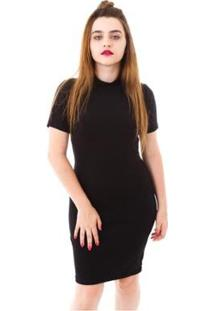 Vestido Moda Vicio Justo Manga Curta Gola Alta - Feminino-Preto