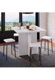 Conjunto De Mesa De Cozinha Com 4 Lugares Verona Ii Corino Branco E Preto