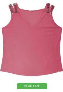 Blusa Plus Size Com Alças E Pedraria Rosa
