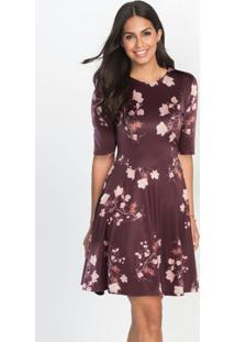Vestido Godê Com Recortes Floral Bordô