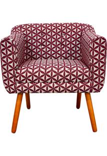 Poltrona Decorativa Julia Linho Floral Geométrico Vermelho A35 - D'Rossi - Tricae
