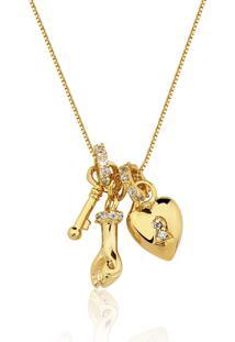 Colar Rincawesky Amuleto Do Amor Dourado - Kanui