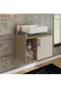 Gabinete De Banheiro 1 Cuba Sobreposta Em Base De Vidro Porto Mgm Móveis Carvalho/Off White