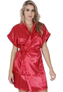 Robe Click Chique Manga Curta Cetim Vermelho
