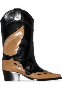 Ganni Bota Cowboy Texas De Couro Com Salto 70Mm - Preto