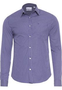 Camisa Masculina Slim Geneva Com Bolso Vista Militar - Azul