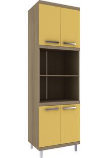 Paneleiro Torre Quente 4 Portas Avelã Hecol Móveis Amarelo/Marrom