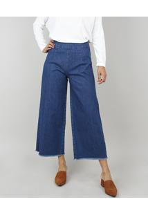 498c61164 ... Calça Jeans Feminina Pantacourt Com Barra Desfiada Azul Escuro