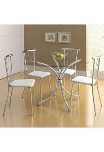 Mesa 375 Com Vidro Incolor Cromada Com 4 Cadeiras 154 Branca Carraro