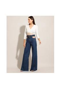 """Calça Pantalona """"Juliette"""" Jeans Cut Out Cintura Super Alta Com Cinto Azul Escuro"""