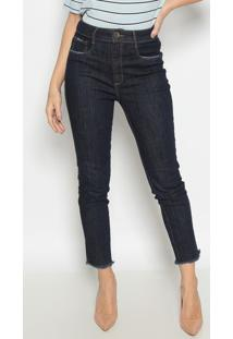Jeans Super High Ankle Com Bolsos - Azul Escuro- Lanlança Perfume