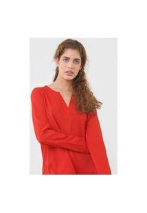 Blusa Calvin Klein Botões Vermelha