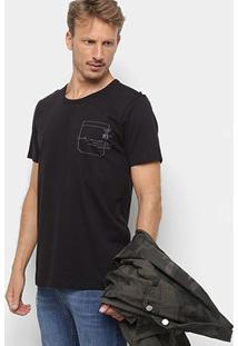 Camiseta Forum Estampada Bordada Masculina - Masculino-Preto