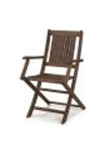 Cadeira Dobrável Com Braços Para Áreas Externas Em Madeira Eucalipto - Maior Durabilidade – Nogueira