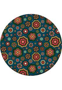 Tapete Love Decor Redondo Wevans Multi Flores Geométricas Multicolorido 94Cm