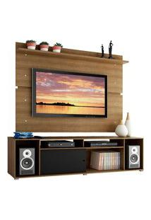 Rack Madesa Cancun E Painel Para Tv Até 65 Polegadas - Rustic/Rustic/Preto Marrom