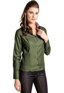 Camisa Feminina Slim Textura Verde Carlos Brusman