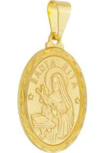 Pingente Medalha Santa Rita Folheada A Ouro 18K - Unissex-Dourado