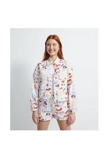 Jaqueta Cropped Em Sarja Estampa De Ícones De Carinho | Blue Steel | Branco | G