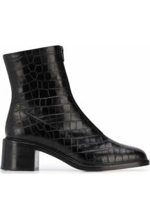 By Far Ankle Boot Com Efeito Pele De Crocodilo - Preto