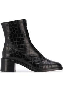 By Far Crocodile Effect Ankle Boots - Preto