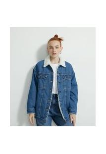 Jaqueta Alongada Em Jeans Com Forro E Gola De Pelinhos | Blue Steel | Azul | P