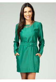 Vestido Curto Verde Com Cinto Forrado
