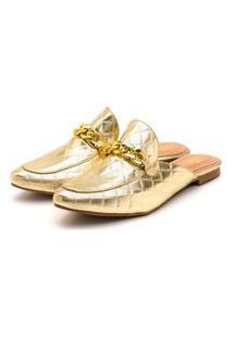 Sapato Mule Feminino Anna Andrade Sapatilha Bico Fino Casual Dourada
