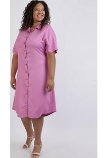Vestido Chemise Plus Size Midi Manga Curta Com Botões Rosa