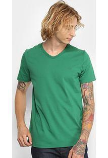 Camiseta Colcci Gola V Lisa Masculina - Masculino-Verde