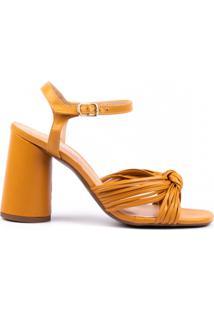 Sandália Salto Bloco Arredondado Em Couro Athuale Amarelo