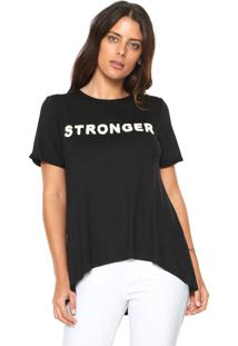 Camiseta Morena Rosa Bordada Preta
