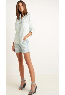 Bermuda Le Lis Blanc Boyfriend Rasgada Jeans Azul Feminina