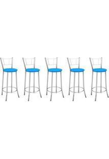 Kit 5 Banquetas Altas Com Encosto Maior Cromado E Assento Azul - March