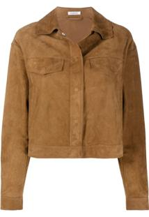 P.A.R.O.S.H. Textured Fringed Effect Jacket - Marrom