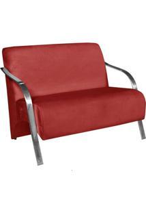 Poltrona Namoradeira Vênus Suede Braço Aluminio Vermelho