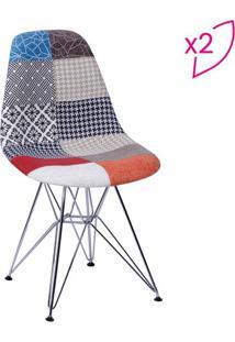 Jogo De Cadeiras Eames Dkr Patchwork- Laranja & Azulor Design