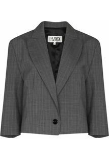 Mm6 Maison Margiela Blazer Cropped Risca De Giz Com Abotoamento Simples - Cinza