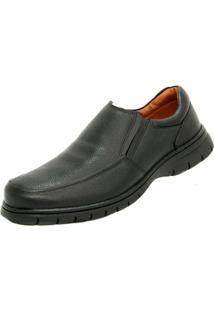 Sapato Social Couro Conforto Medical Line Masculino - Masculino-Preto