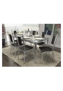 Conjunto De Mesa Com 6 Cadeiras Crome Cromado E Preto Kappesberg
