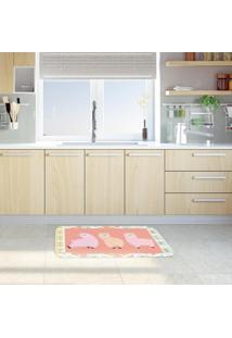 Tapete De Cozinha Mdecore Lhama Rosa 40X60Cm
