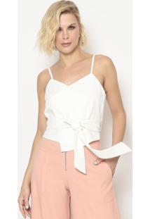 Blusa Com Recortes & Faixa- Off White- Aboutabout