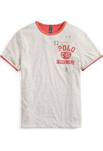 Camiseta Polo Ralph Lauren Double Face Reta Cinza/Vermelha