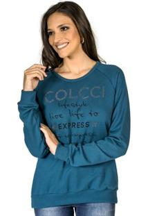Blusão Moletom Aplicação Colcci Feminino - Feminino-Azul