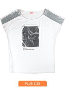 Blusa Branca Love Em Foil